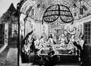 Sukkah_meal_Amsterdam_1922_Bernard_Picart_Wigoder_editor_Jewish Art Civilization_1972_p60-1